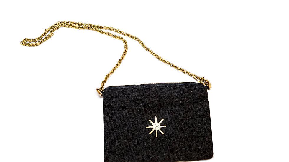 Black Linen Crossbody with Brass Chain