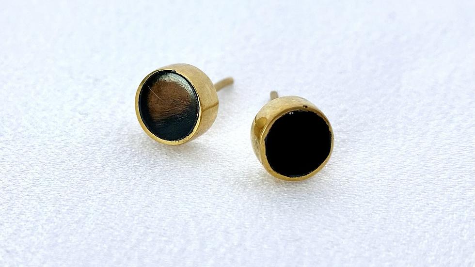 Black & Brass Stud Earrings