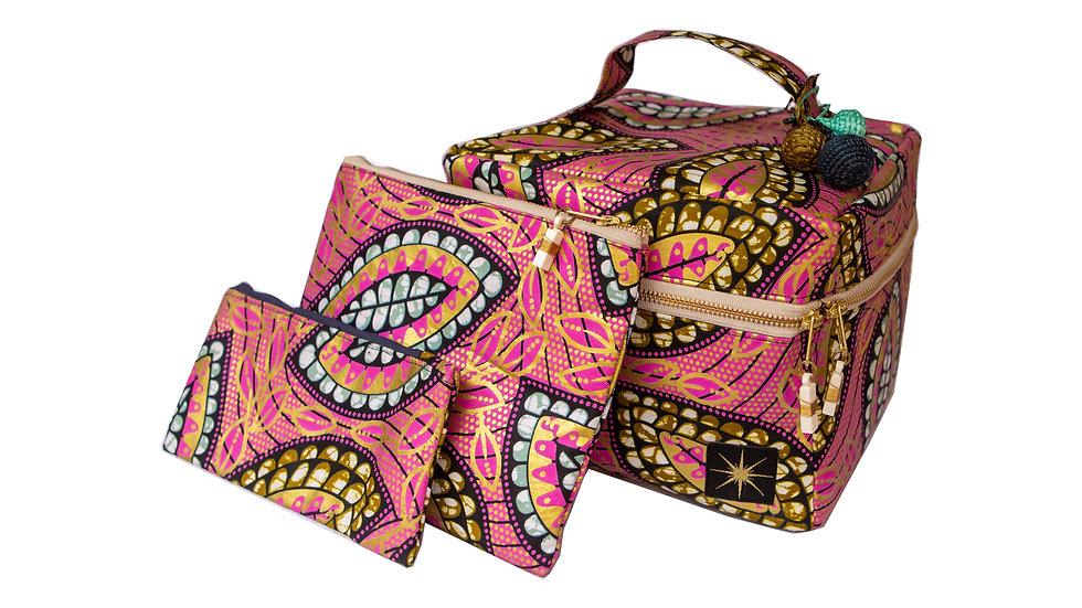 Pink and Gold Leaf Makeup Bag