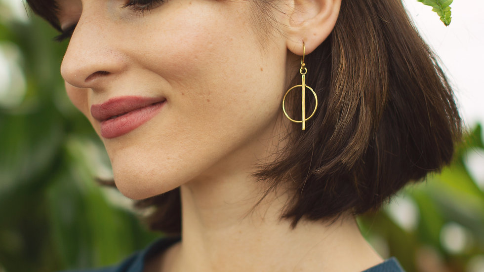 Recycled Brass Circle Drop Earrings
