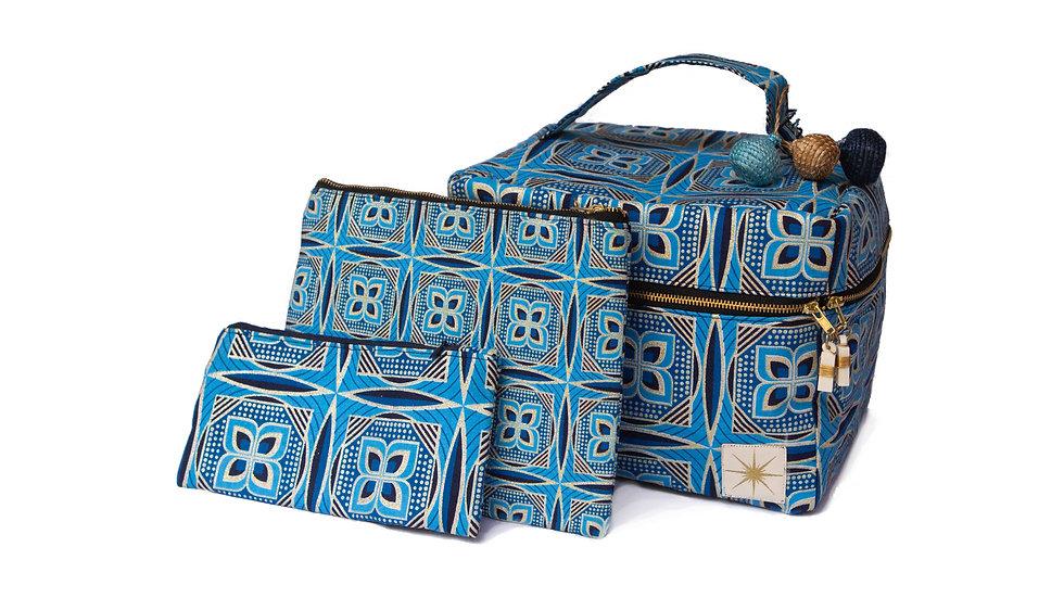 Blue Geo Makeup Bag
