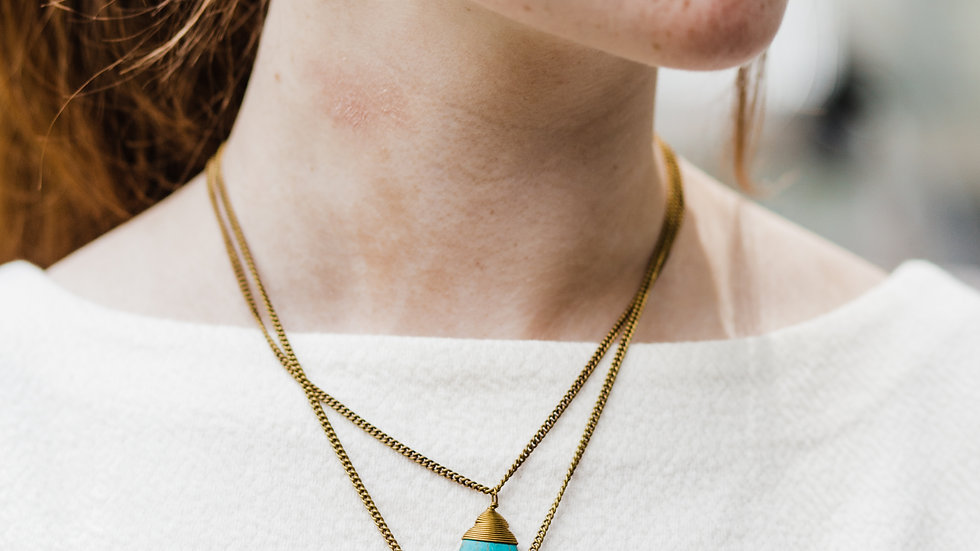 Recycled Brass & Stone Double Drop Necklace