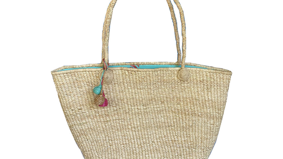 Woven Beach Tote with Turquoise Lining
