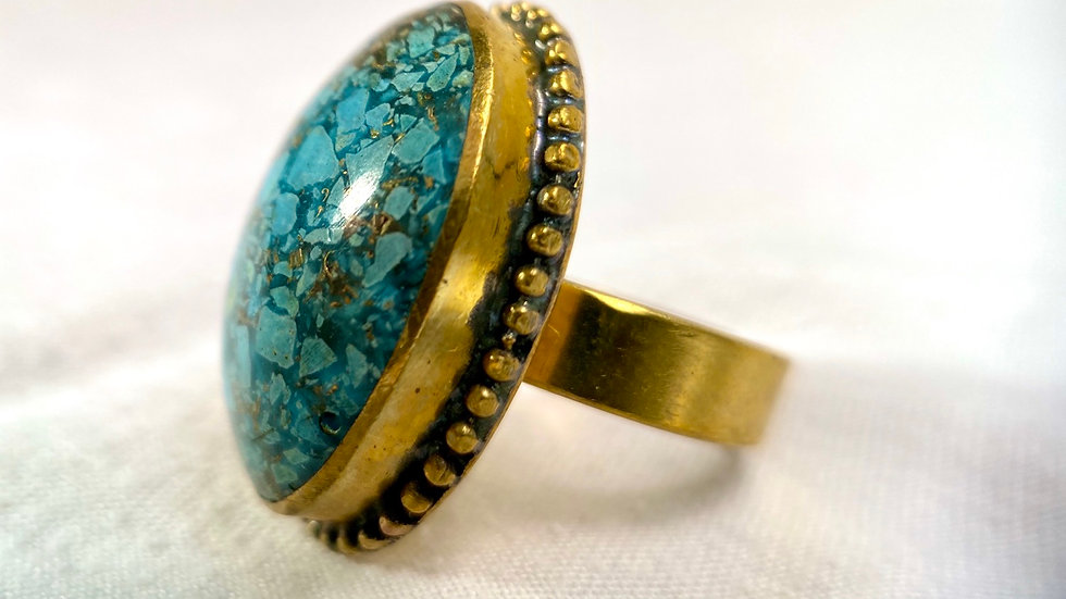Recycled Brass Ring with Turquoise Stone