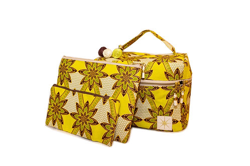 Chartreuse Flower Makeup Bag