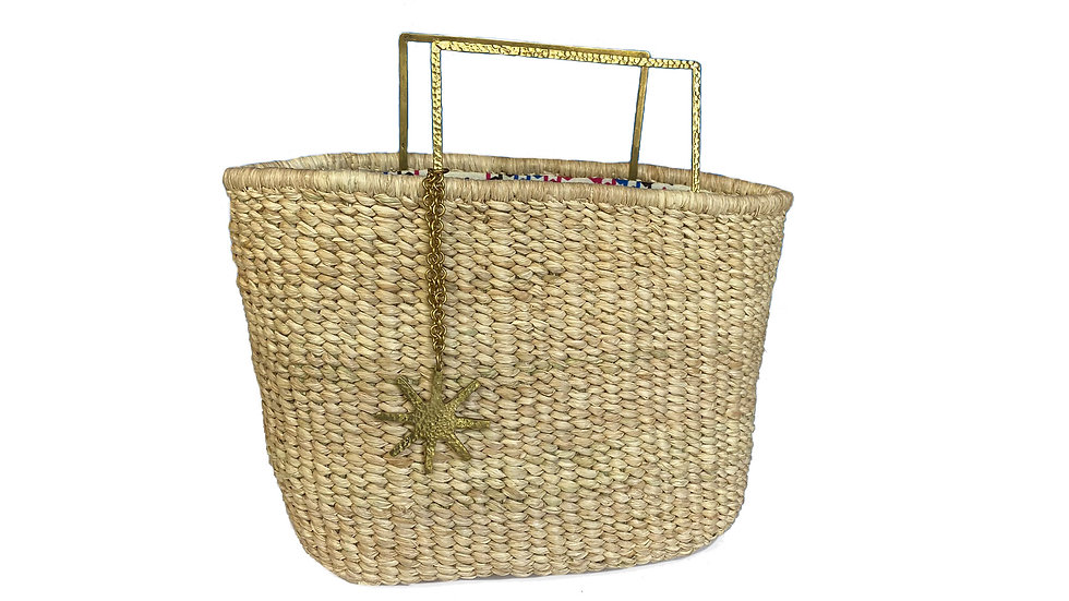 Woven Bag with Squared Brass Handles