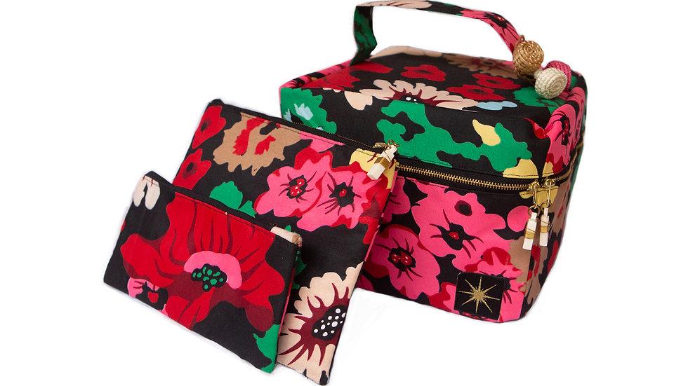 Black Poppy Makeup Bag