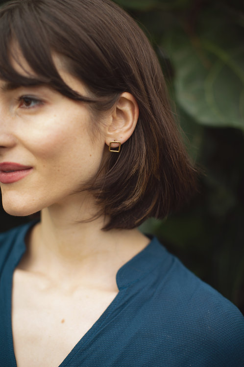 Recycled Brass Square Earrings