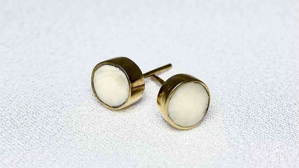 Bone & Brass Stud Earrings