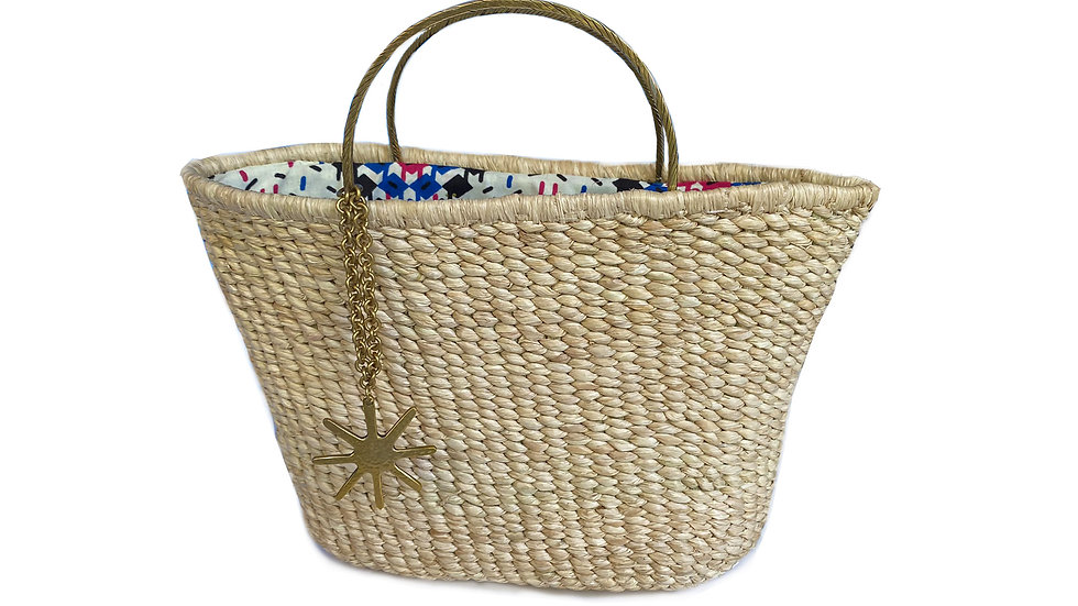 Woven Bag with Rounded Brass Handles