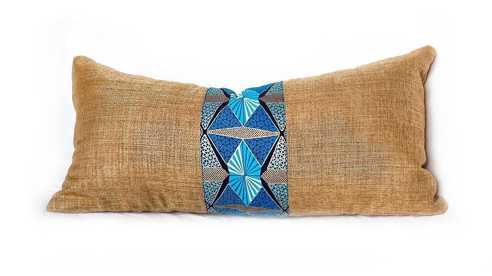 Blue Geo Lumbar Pillow - {12x24}