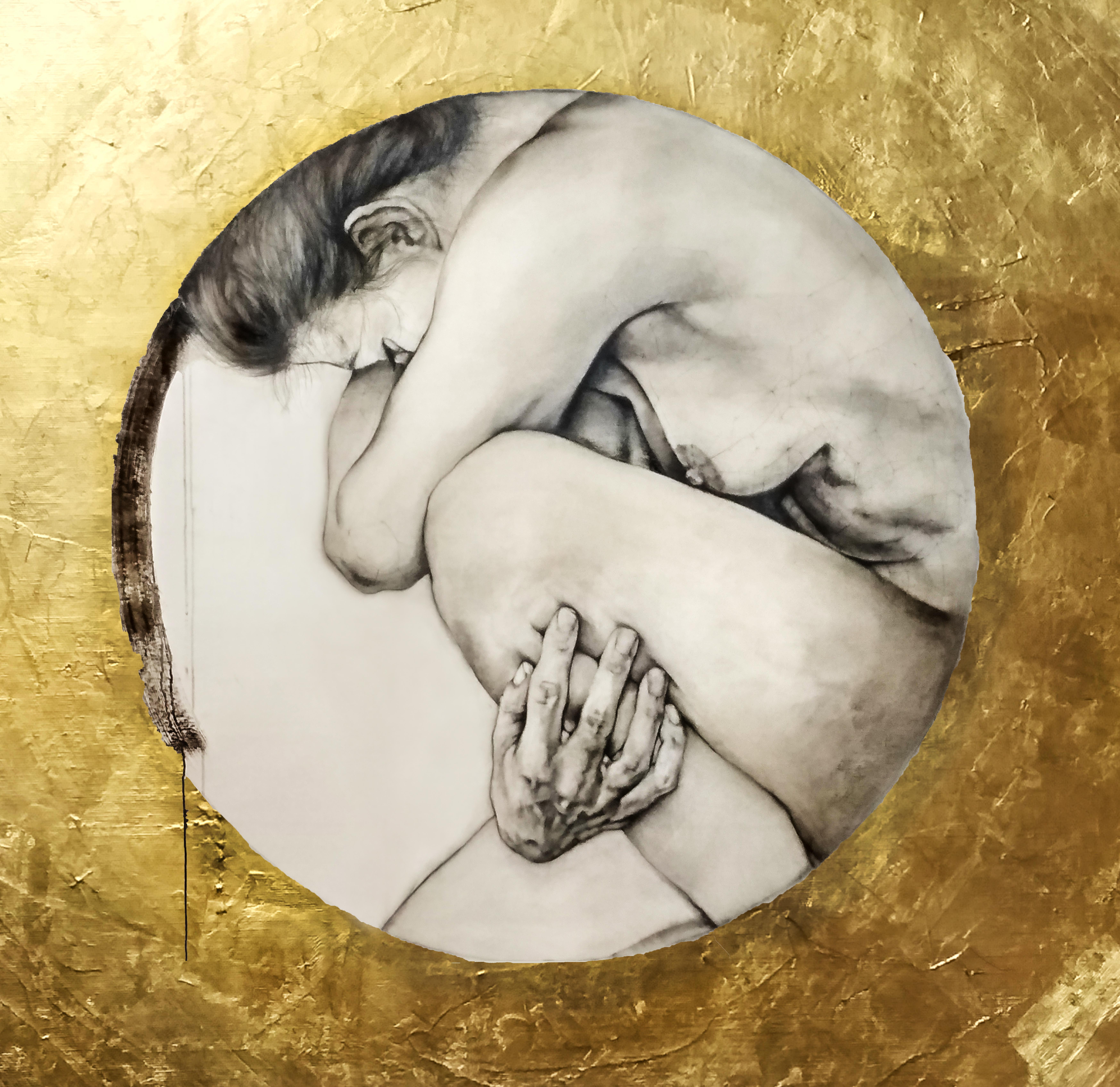 Pokorná krása -oil & 24kt gold, 2018