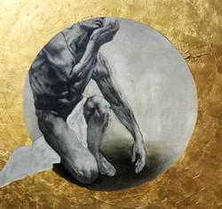 Alchymista 150x150cm, oil & 24k gold