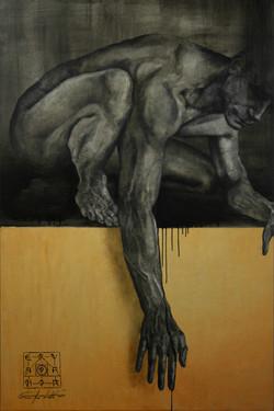 Hephaestus, oil, pastel, bronze, copper & wax on canvas, 150x100cm, 2017