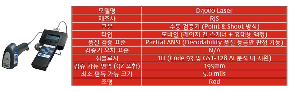 RJS D4000L 모바일 바코드 검증기