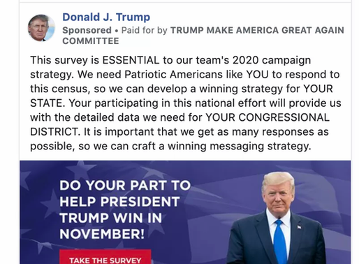 """It looks like Trump is trying to trick people into filling out """"census"""" forms online"""