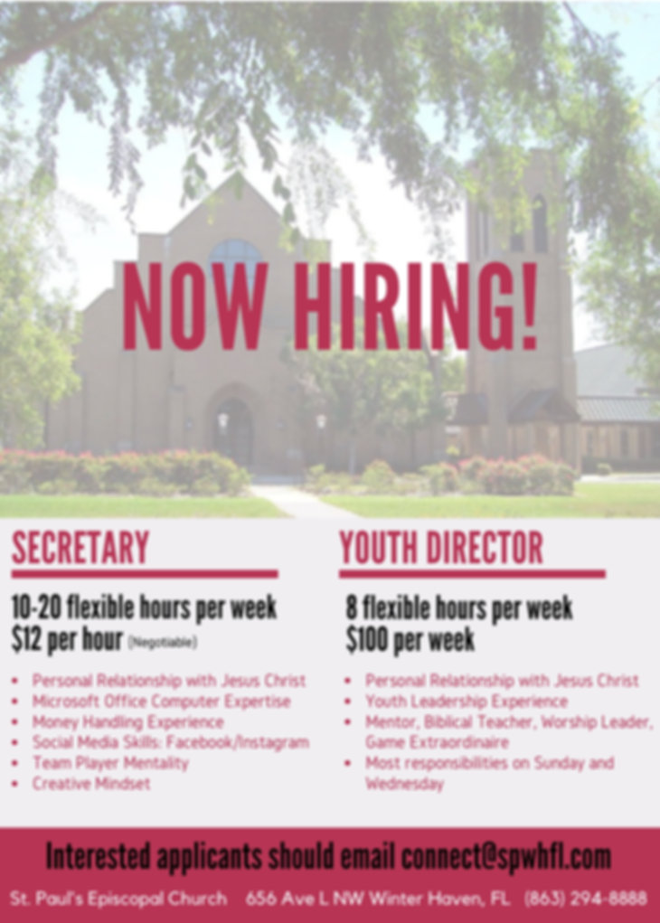 St. Paul's Job Listing secretary youth director
