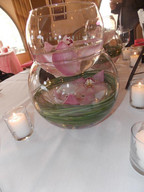 Centerpieces arranged by The Party Styler