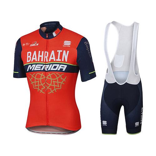 Bahrain-Merida Red-Black Cycling Jersey And Bib Shorts Set