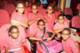 school children with corrective glasses.