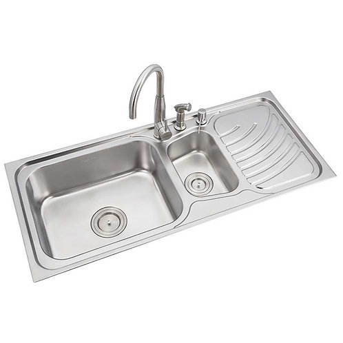 Double Bowl Sink with Single Drainboard | LS334MB