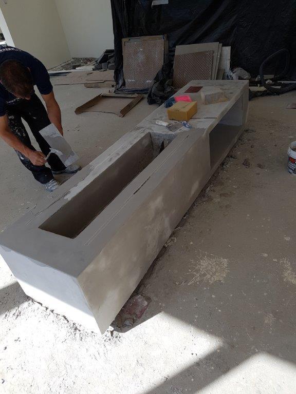lareira de concreto