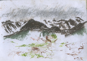2 minute Drawn from Life Mountian Landscape, Pastel, 2018