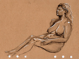 10 minute Female Firgure Drawing, Charcoal and Pen, 2022