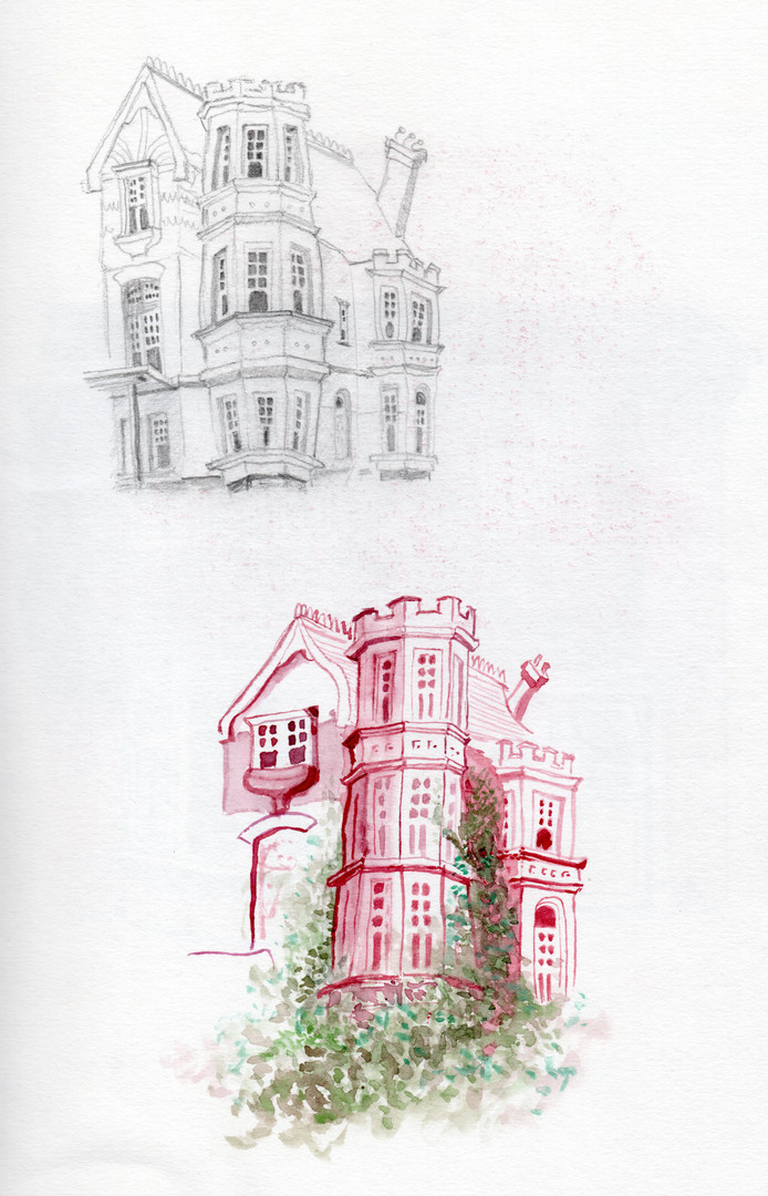 Tower House drawings, pencil, watercolou