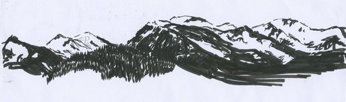 10 minute Drawn from Life Mountain Landscape, Pen, 2016