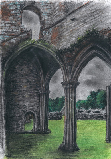 Ruined Abbey, 2015, coloured pastel