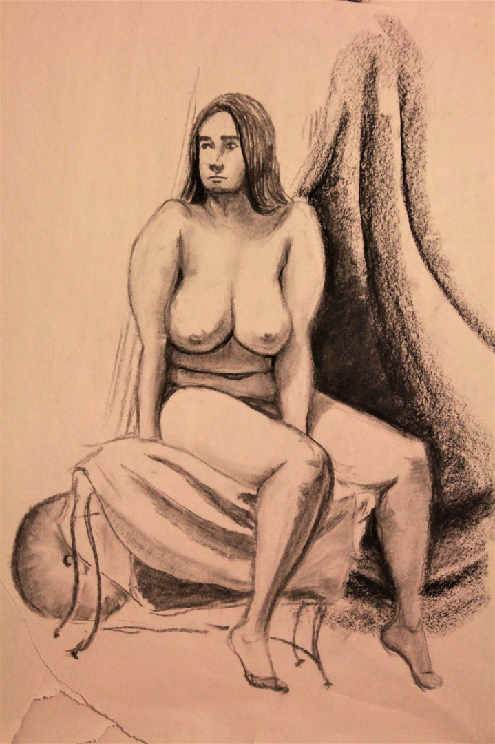 1 hour Female Figure Drawing, Charcoal,