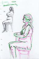 8 minute Female Figure Drawings, biro, pen, 2020