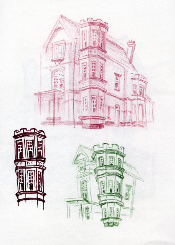 Tower House drawings 2, coloured pencils