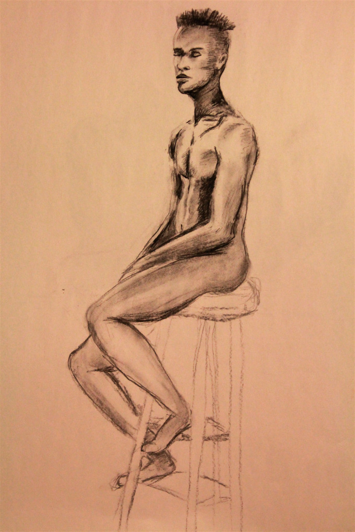 30 Minute Male Figure Drawing, Charcoal,