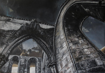 The Abbey, 2016, Plaster and Oil paint on block card