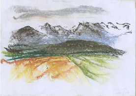 5 Minute Drawn from Life Mountain Landscape, Pastel and Pen, 2018,