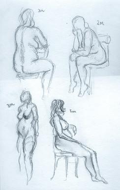 2 - 5 minute Female Firgure drawings, pencil, 2020