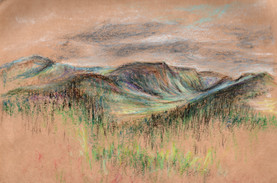 Cairngorms From Life, Oil Pastel, 2016 .