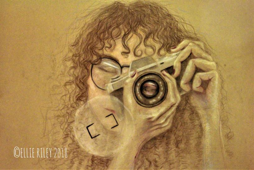 Self Portrait with camera, 2018, Coloured Pencil