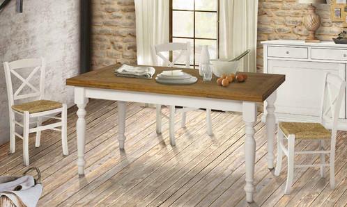 Tavolo in legno shabby rovere kiarreda arredamento for Tavolo stile shabby