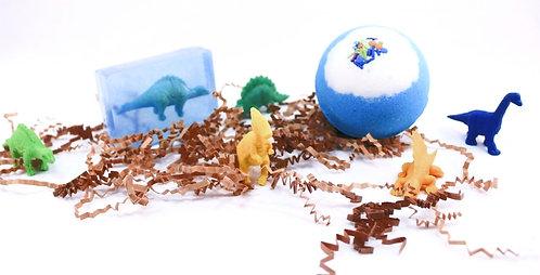 Kids BOY Dinosaur Surprise Toy Inside Bath Bomb Fizzy & Body Wash Hand Soap Set