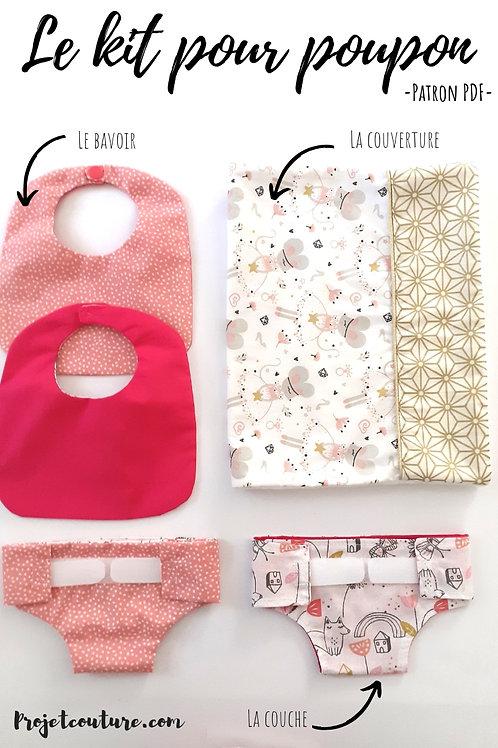 Kit de naissance poupon - couche bavoir et couverture