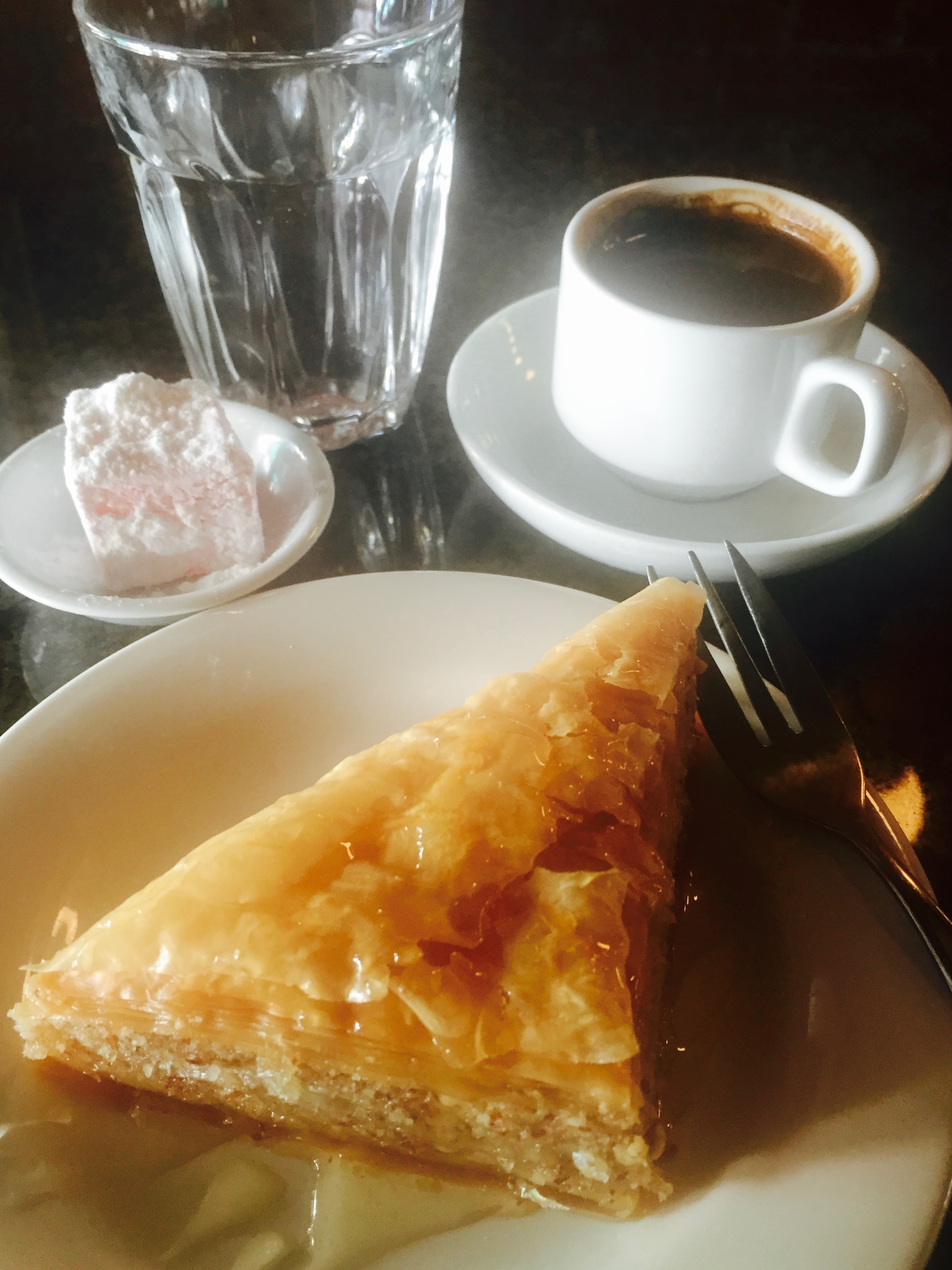 Greek coffee with baclava