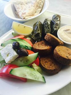 Open vegetarian souvlaki