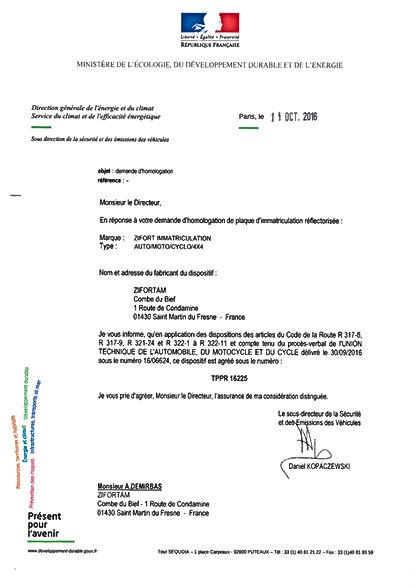 fournisseur plaque d'immatriculation - fabricant - Zifort immatriculation - Plaque immatriculation