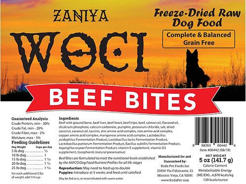 Zaniya Woci Beef Bites 5oz Stand Up Pouch