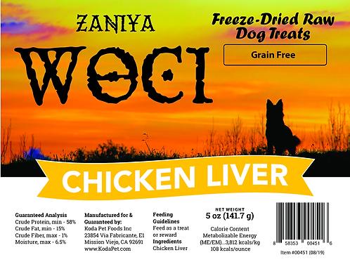 Zaniya Woci Chicken Liver Treat 5oz Stand Up Pouch