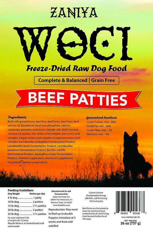 Zaniya Woci Beef Patties 26oz Stand Up Pouch