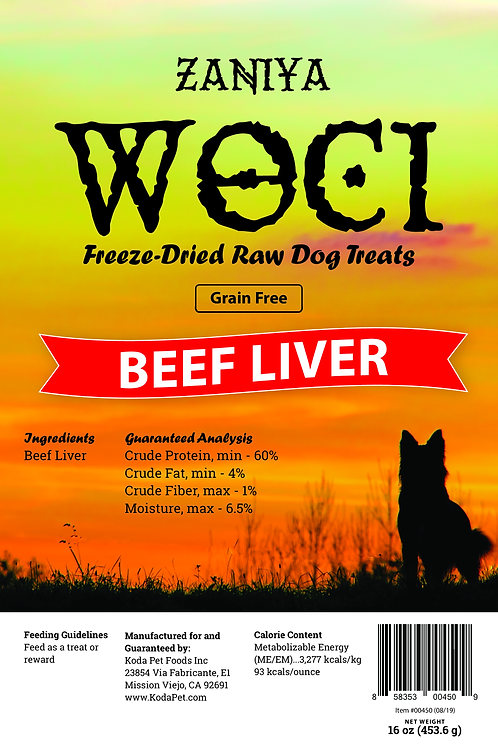 Zaniya Woci Beef Liver Treat 16oz Stand Up Pouch